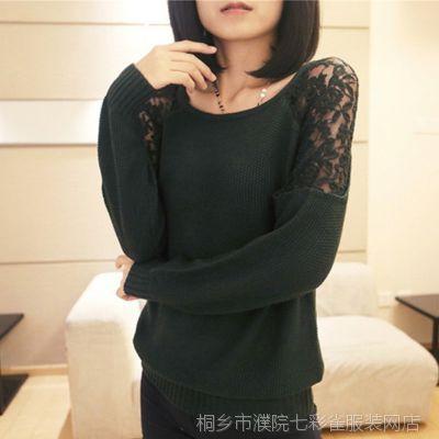 2014新款春装韩版宽松女装性感蕾丝镂空打底衫 针织衫低领 毛衣