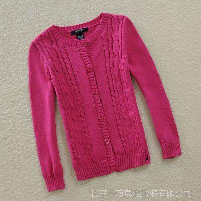 2014秋款韩版女童装针织衫童开衫 英伦全棉中小童毛线衫一件代发