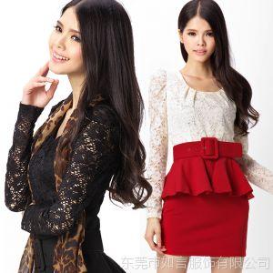 供应【实拍】2013秋冬装新款女蕾丝拼接可拆卸腰带 OL长袖连衣裙 L021