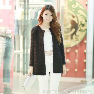 实拍-女装新款秋装外套外搭马海毛开衫宽松长款针织衫毛衣