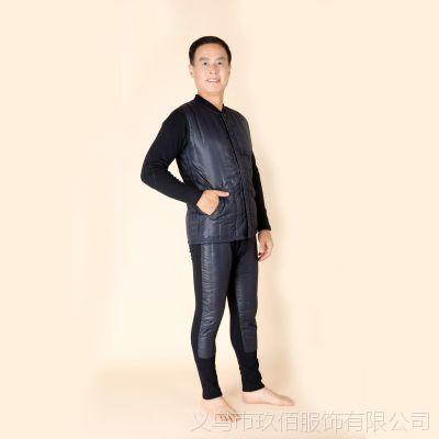 批发男款保暖套装中老年多层加厚加大男款开衫防寒保暖内衣内外