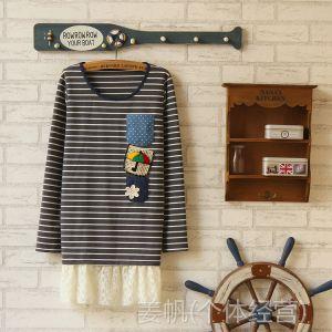 供应外贸原厂直销日系女装中长款可爱口袋长袖T恤圆领打底衫森女小衫