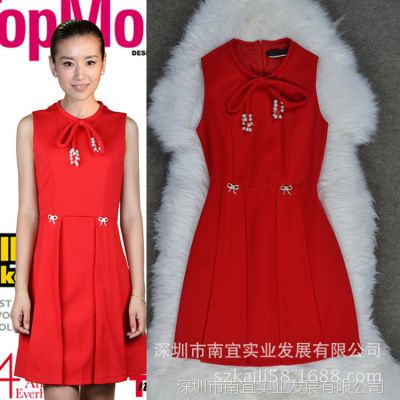 董洁明星同款2014欧美秋装新款女装红色无袖钉珠修身连衣裙