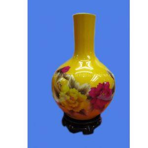 供应陶瓷花瓶/手工麦杆画制作陶瓷花瓶《花开富贵》
