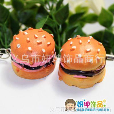 F6025韩国 巧克力夹心奶油汉堡手机链 仿真食品模型手机挂件 批发