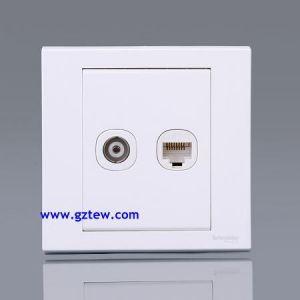 供应柳州施耐德开关插座面板 经典 如意系列 电视电话插座EV52TVTS