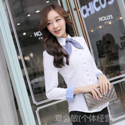 2014秋季新款韩版潮大码修身OL通勤职业女士衬衣 送领结