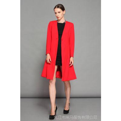 YIGELILA大牌高端定制女装欧美风秋冬红色大衣外套外贸原单9126