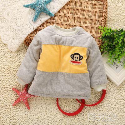 新款韩版天鹅绒婴幼儿棉衣 卡通拼色猴子肩扣宝宝棉衣 儿童棉衣