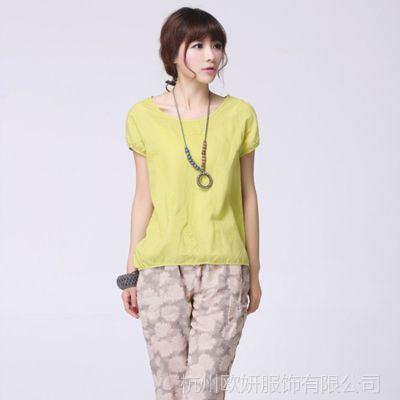 2014夏装新款女式上衣 民族风时尚修身短袖纯色气质T恤 代理加盟
