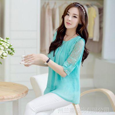 供应2014夏装新款中袖雪纺衫圆领打底衫韩版小衫女式上衣夏季