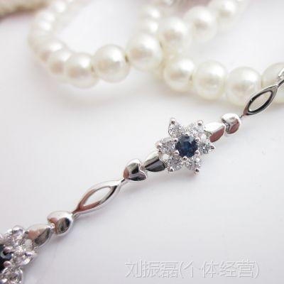 热销 海洋蓝宝蓝手链 天然蓝宝石 手链 s925银 宝石首饰 专业生产