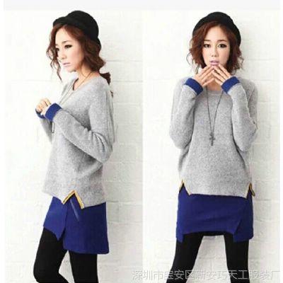 2014秋冬新款韩版蝙蝠衫毛衣套装裙两件套短裙显瘦毛呢连衣裙