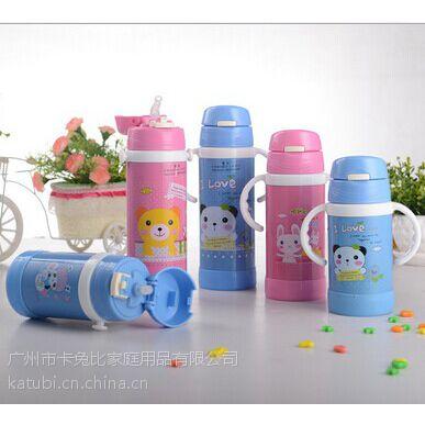 卡兔比儿童保温杯 学生不锈钢吸管水杯瓶 宝宝背带杯子 广州不锈钢保温杯厂家