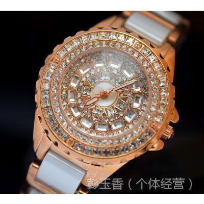 厂家直销韩版时尚高档手工贴满镶表盘进口真陶瓷石英指针女士手表