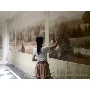 供应壁画,油画,博物馆壁画,大型壁画,手绘酒店壁画,墙绘 -天津丽思卡尔顿酒店大型壁画绘画现场
