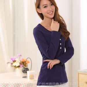 供应实拍秋装新款大码女装长袖t恤修身女款秋季打底衫韩版上衣