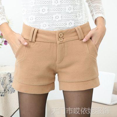 时尚毛呢短裤女 秋冬款新款女士冬季大码加厚打底靴裤 女短裤
