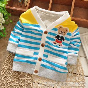 供应2014春季新款韩版童装 纯棉小熊条纹男女童开衫 长袖V领童针织衫
