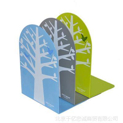 得力9267圆形铁书立炫彩创意时尚书架书挡书靠树图书归类收容2个