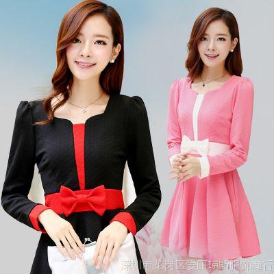 2014新款秋季甜美蝴蝶结长袖修身红色连衣裙女中长款