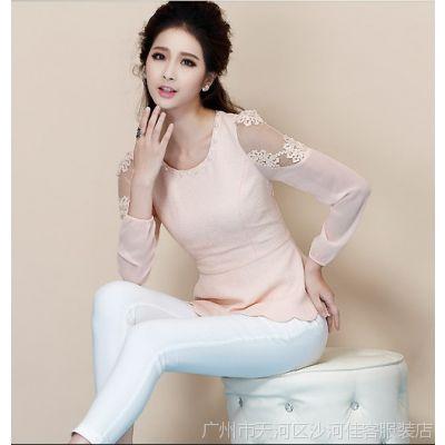 供应新款 复古雪纺衫 女士 修身长袖蕾丝刺绣小衫衬衫HT