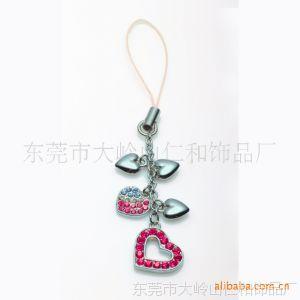供应时尚彩钻心形手機吊飾 环保锌合金手機掛件 手機链