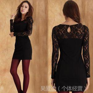 供应2013秋装新款打底衫 长袖蕾丝长款包臀韩版修身连衣裙加厚