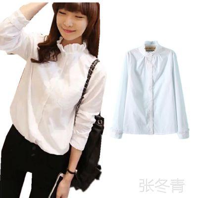ML343 新款女韩版休闲百搭甜美立领木耳花边白色衬衫淑女打底衫