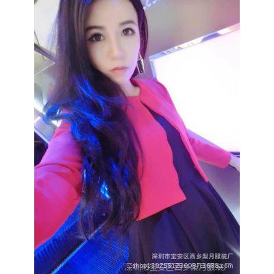 供应包邮 小香风套装秋季女装韩版2014新款廓形外套+背心裙欧洲站套装