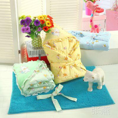 热销婴幼儿抱被 新生儿秋冬款纯棉加厚宝宝抱毯 全棉婴童盖被包巾