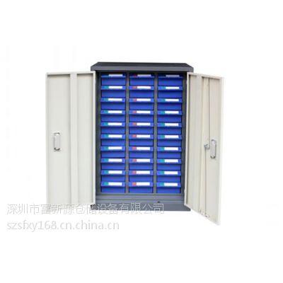 供应透明抽屉零件柜图片,深圳富新源现货供应(图),48抽带门零件柜厂家