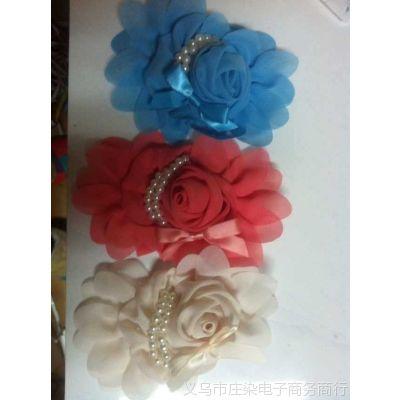 新款雪纺玫瑰珍珠花朵 饰品配件花朵 多色可选