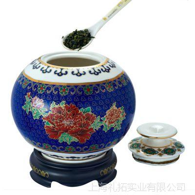 景泰蓝茶叶罐 批发景泰蓝珐琅大茶罐 高档家居摆件 上海礼品公司