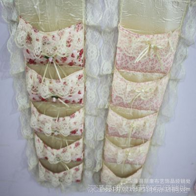 厂家直销田园布艺挂袋5兜蕾丝挂袋 收纳袋 整理袋 多种花色