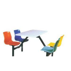 供应快餐桌椅、四人餐桌椅、玻璃钢餐桌椅 分体4人位 挂凳桌