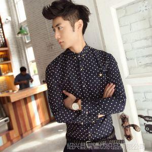 供应2013春秋装新款韩版男士长袖衬衫潮修身打底衫男衬衣英伦上衣服