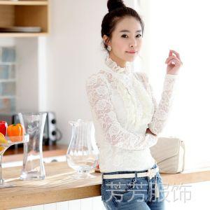 供应爆款 新款女装韩版蕾丝高领打底衫公主衫女士蕾丝上衣送吊带
