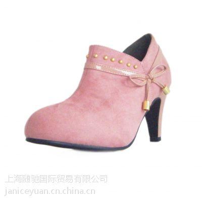 款潮单鞋 秋冬季款女鞋甜美蝴蝶结高跟鞋 女士鞋 外贸出口