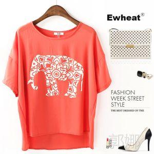 供应N3542 2014春夏新欧美风大象短袖雪纺衫 女式短袖T恤