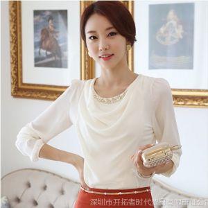 供应2013火秋装新款韩版时尚女装圆领珍珠雪纺衫 长袖打底衫T恤