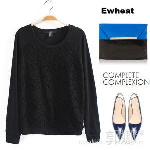 供应Ewheat M8351  秋冬新款 套头薄款 蕾丝拼接长袖卫衣 打底衫