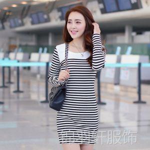 供应服装服饰加盟新款秋装条纹修身连衣裙长袖针织打底衫一件代发1002