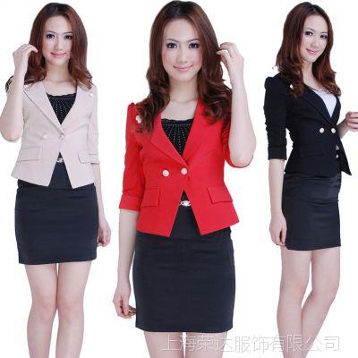 上海白领工作服装 女士正装西服套装黑色 工作套装职业装定做定