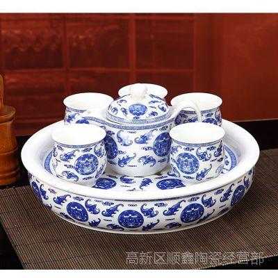 景德镇大茶盘茶具 青花瓷8头茶具 高档商务馈赠礼品茶具套装