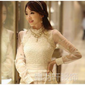 供应6252秋装新款韩版复古蕾丝拼接长袖打底衫 女式秋冬蕾丝衫上衣