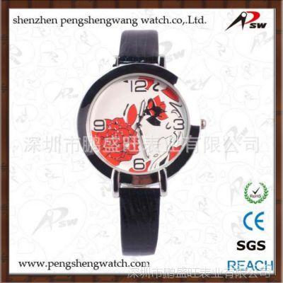 进口品质印花装饰时尚女士手表 新款皮带女手表批发 免费拿样品