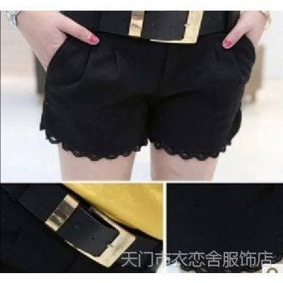 冬季毛呢短裤女裤 韩版显瘦蕾丝花边拼接百搭呢子短裤 送腰带