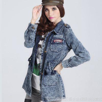 实拍 6203-2 韩版新品收腰修身牛仔衣女风衣大衣女牛仔外套