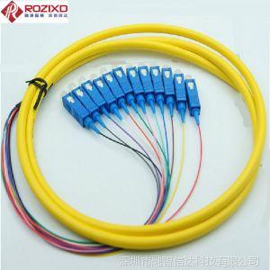 供应【厂家直销】优质1.5米LC/ST/SC/FC(UPC) 12芯束状尾纤 电信级